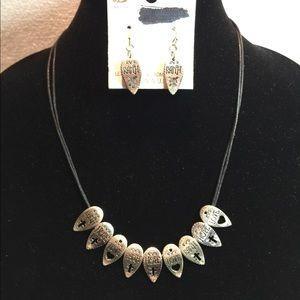 Faith-Hope-Love Necklace and Earring Set